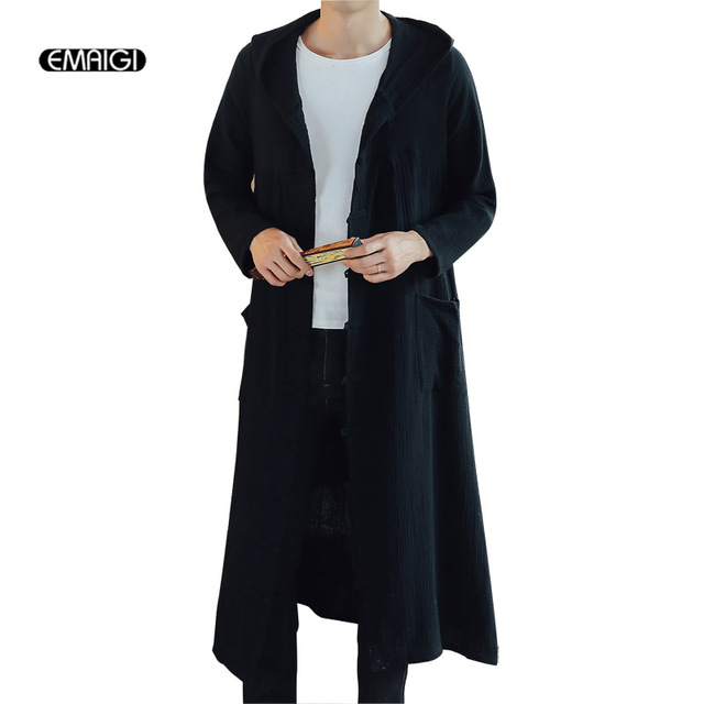 Men Chinese Style Long Casual Hooded Shirt Gowns Coat Male Casual ...