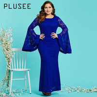 Plusee Plus Size Lace Dress 4XL Women Blue O Neck Spring Solid Flare Sleeve Party Hollow