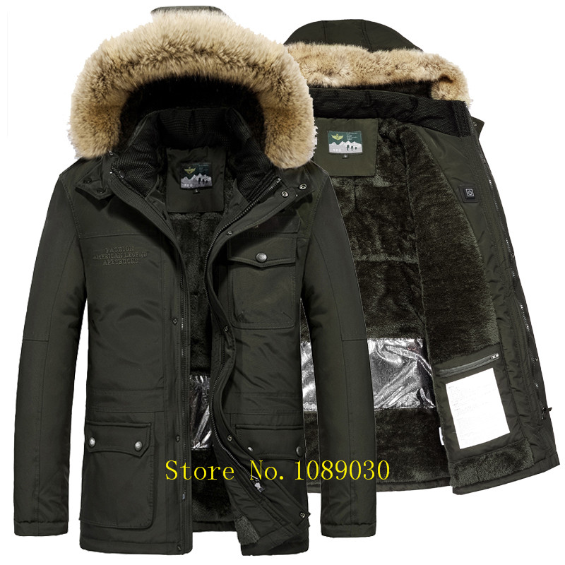 AFS JEEP Russia Winter Jacket Men Intelligent Design Smart Heating Temperature Controllable Fur Collar Parka Men -40 Degree