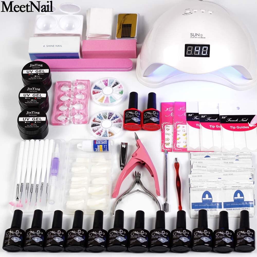 Kit de uñas secador de 6 W/48 W UV lámpara LED y de Gel UV barniz polaco Base superior abrigo manicura herramienta 12 Color de esmalte de uñas para uñas conjuntos