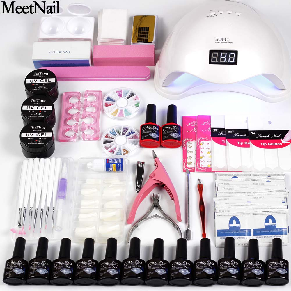 Nagel Kit Trockner 6 W/48 W UV LED Lampe & UV Gel Lack Polish Top Basis Mantel Maniküre werkzeug 12 Farbe Nagellack Für Nagel sets