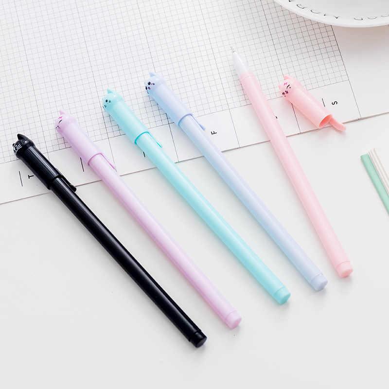 2 pièces créatif école papeterie mignon dessin animé queue chat gel stylo étudiant 0.5 pleine aiguille noir stylo