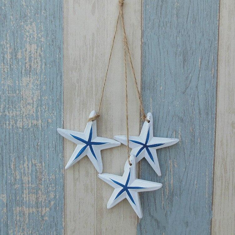 3pcs/lot Mediterranean Starfish Fish Nautical Decor Hang Adorn Crafts Wood Fish/decorated marine pendant Home Decoration MP 013