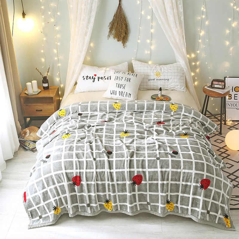 IDouillet Клубника & плед печати мягкий теплый плюш флисовый для кровать диван Твин