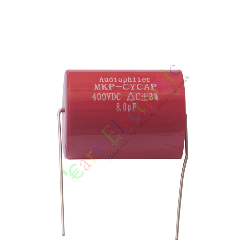 Wholesale and retail 2pc MKP 400V 8uf Red long copper leads Axial Electrolytic Capacitor audio amp free shipping