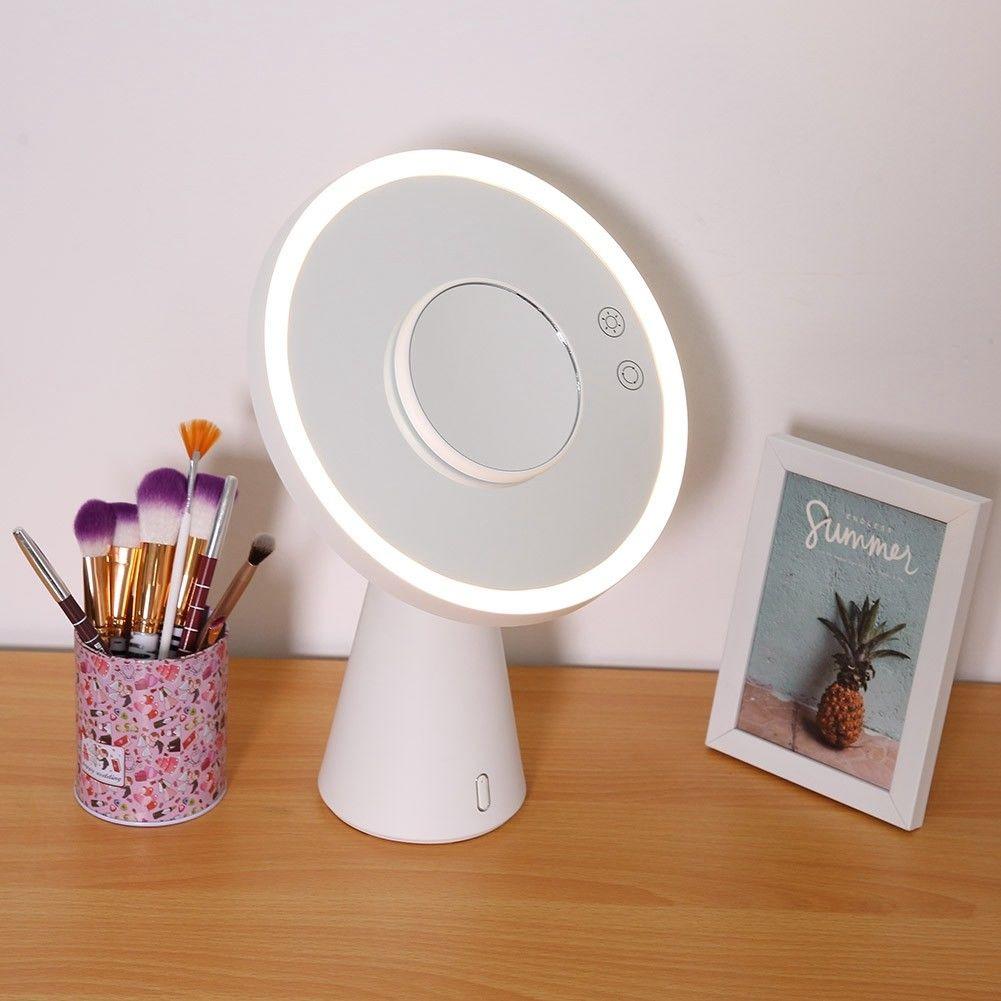 Lampe de miroir de maquillage à LED multifonctionnelle grossissent s'allument avec le chargeur d'usb de lampe de Table Audio de Bluetooth