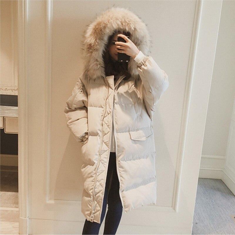 2018 winter women hooded coat fur collar thicken warm long jacket female plus size 2XL outerwear   parka   ladies chaqueta feminino