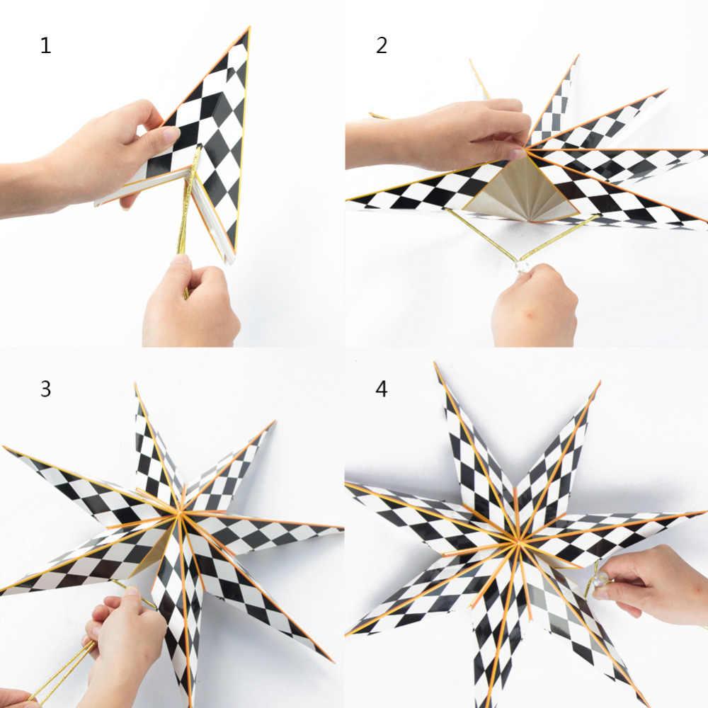 1pc 40cm Black White Geometric Paper Star Lantern Seven Angle Wedding Christmas Room