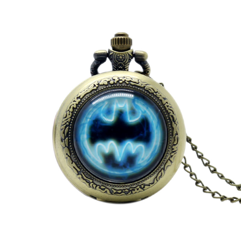 Small Size Bronze Batman Movie Pocket Watch With Necklace Chain Quartz Movement For Womens Mens Christmas Gifts