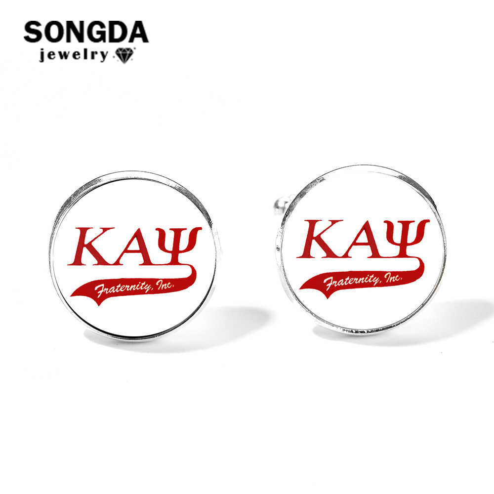 SONGDA Kappaa Alpha Psi Logo Fraternity Cufflinks for Mens Brand High Grade Greek KAP Glass Dome Silver Plated Shirt Cuff Links