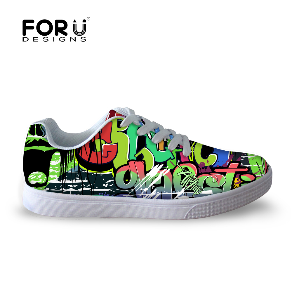 Skate shoes price - Forudesigns Fashion Tide Men Shoes Breathable Graffiti Skate Shoes Casual Flat Walking Shoes For Men