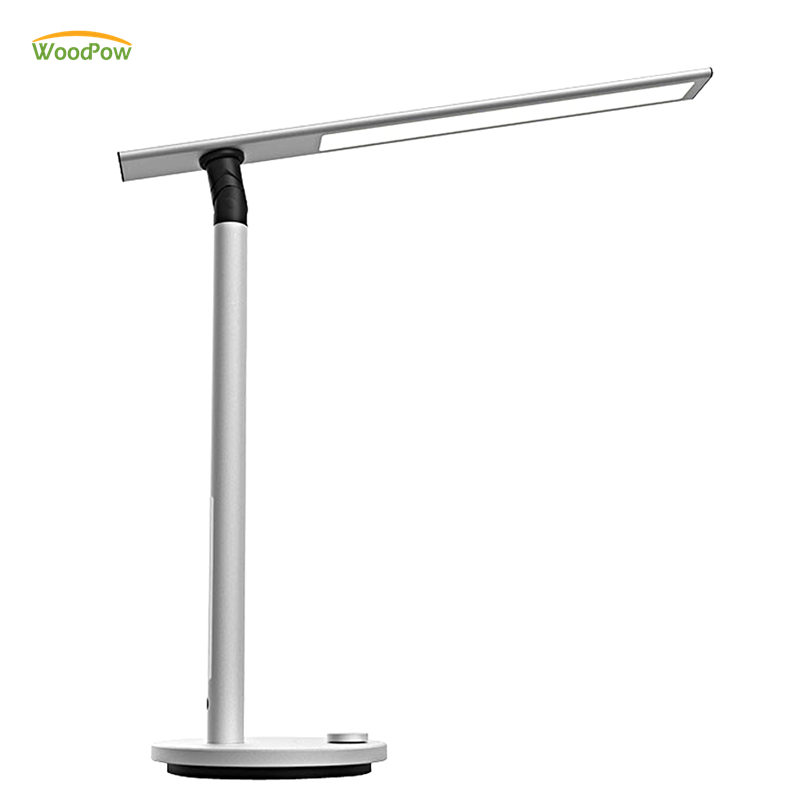WoodPow Aluminum Alloy LED Dual Light Source Smart Desk Lamp Eyes Care Foldable Dimmable Touch Table Lamp for Learning Working