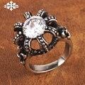 Góticos Corona Circón Anillos de ajuste para los hombres y mujeres de Acero Inoxidable cristal Real de la vendimia de joyería de Moda
