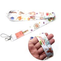 DMLSKY 24pcs/lot Little Fox and Prince Lanyard Keychain Lanyards for keys Badge Phone key Rings Neck Straps Accessories M3054