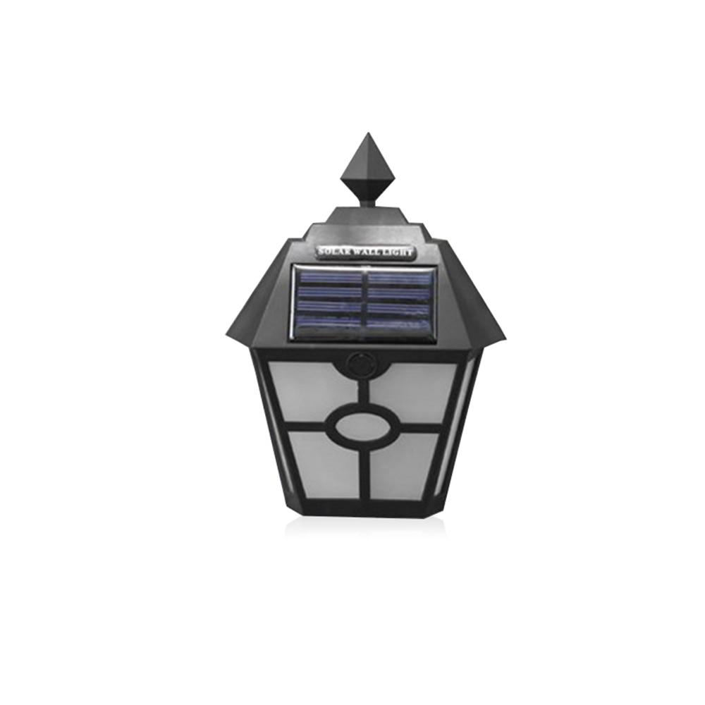 Plastic Black Retro Vintage Solar Power Fence Lamp Hexagon Wall Light Garden