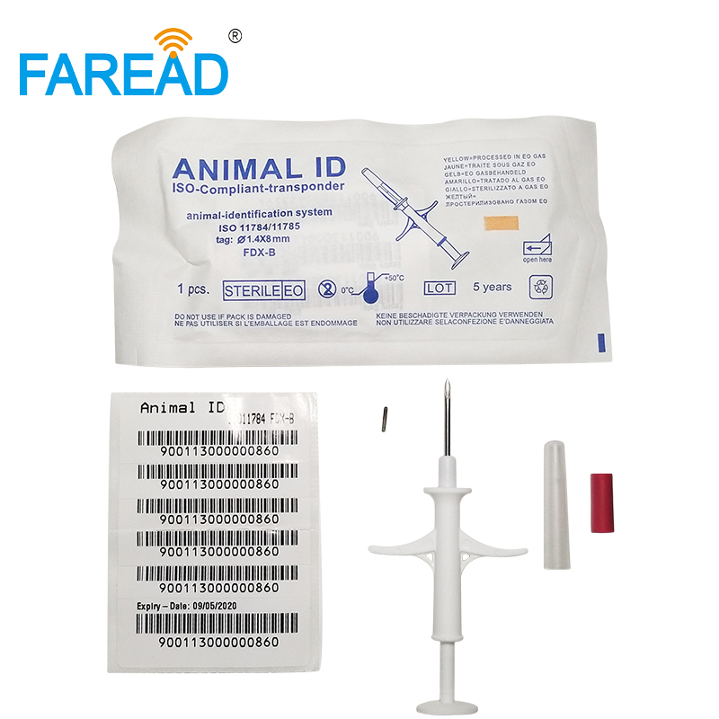 1.4x8mm Injection Glass Tag For Fish Cat Tracking Animal RFID Tag ISO11784/785 FDX-B Protocol Pet Microchip