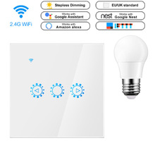 Smart Dimmer Light Switch 220V EU Glass Panel Wireless Remote Touch Control WiFi Light Switch Works With Google Home Alexa IFTTT
