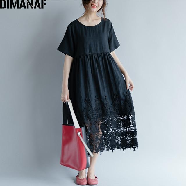 Women Dress Plus Size Summer Cotton Femme Lady Elegant Vestidos Pleated Lace Spliced Solid Black Loose Long Dresses