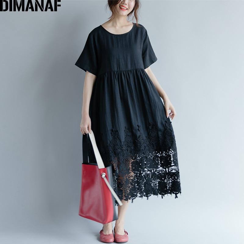 DIMANAF Women Dress Plus Size Summer Cotton Femme Lady Elegant Vestidos Pleated Lace Spliced Solid Black Loose Long Dresses 2018