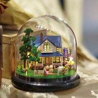 B014 nuovo Fattoria FAI DA TE In Miniatura casa delle bambole in miniatura palla di vetro fai da te miniature casa delle bambole in legno vocale ha condotto le luci