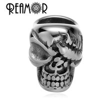 REAMOR Never Fade 316L Stainless steel Pirate Skull  Head European Charm Beads For Bracelet Jewelry Making Beads