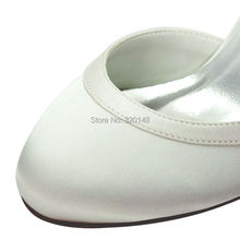 Women White Ivory Mid Heel Wedding Shoes Comfort Closed Toe Buckle Satin Lady bride Bridesmaids Bridal Prom Party Pumps HC1509