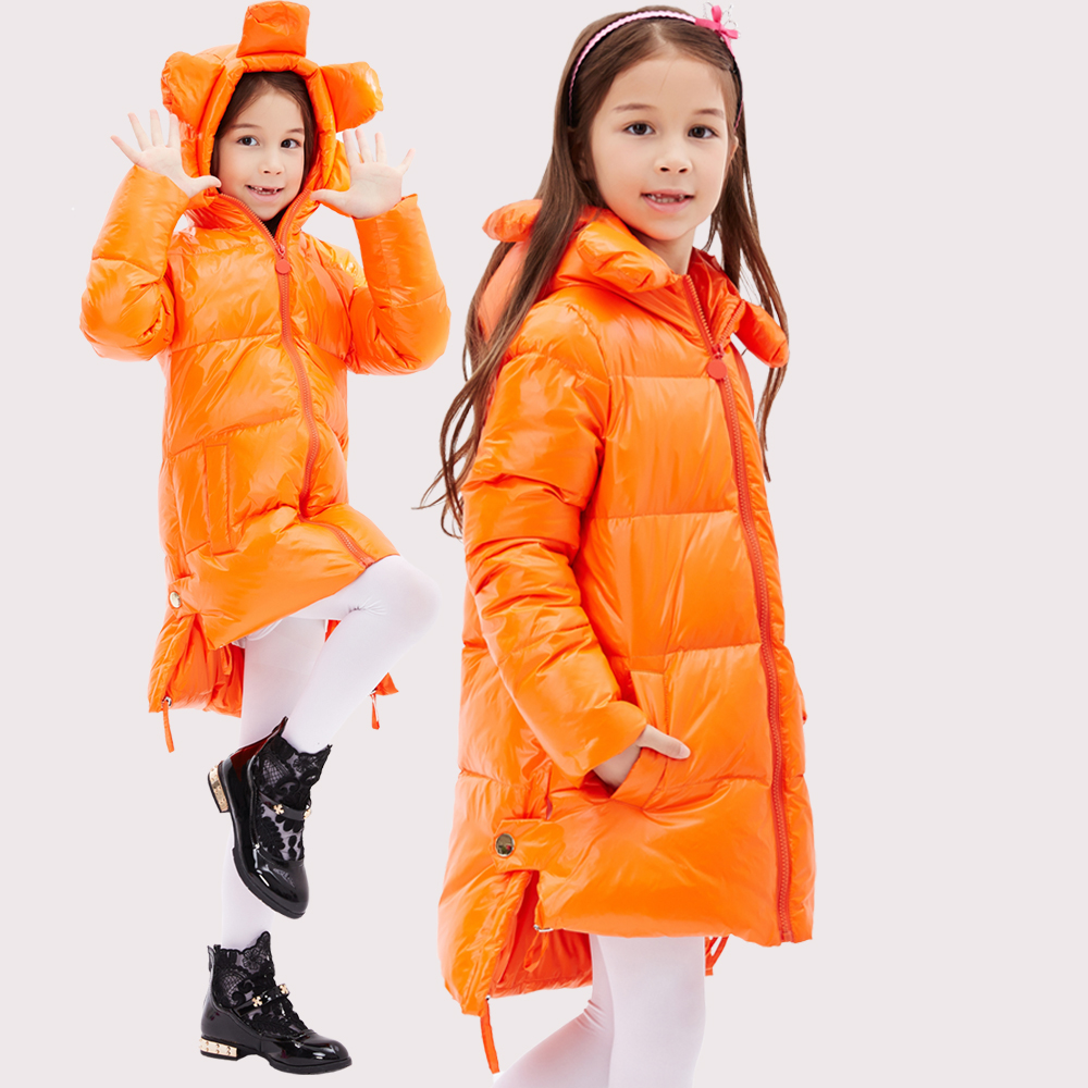 2016 Winter Jacket Girls down coat child down jackets girl duck down long Flower Hooded loose coats children outwear overcaot недорого