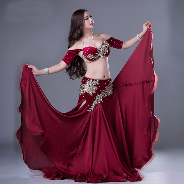 eac5d546be Women Professional Belly Dance Costumes Ladies Elegance Oriental Dance  Outfits Bellydance Beaded Top Bra Long Skirt