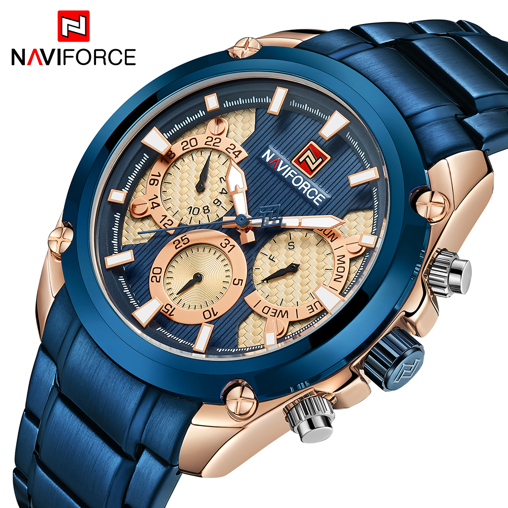 NAVIFROCE New Men Watch Army Sports Military Wrist Watches Men's Fashion Stainless Steel Quartz Date 24 Hour Analog Clock Male