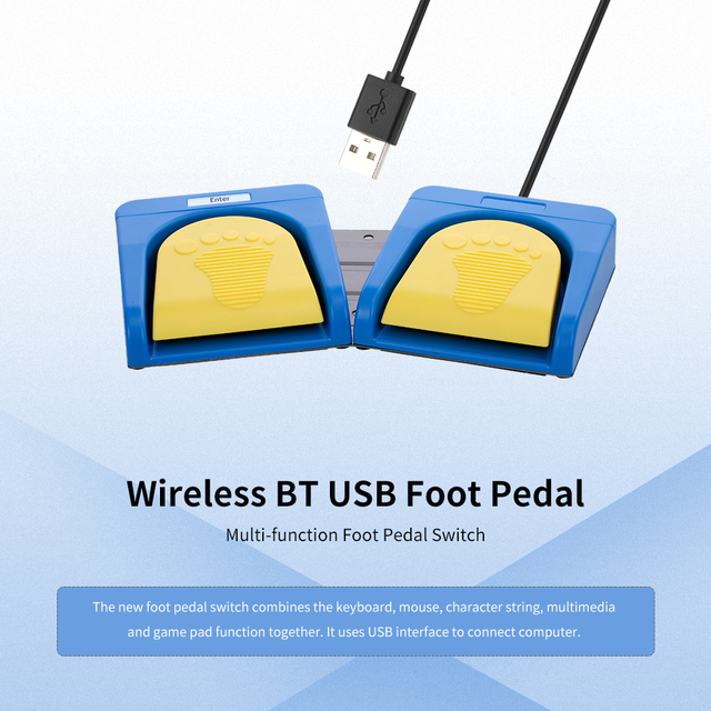 Wireless BT USB 2 Foot Keyboard Switch Control Keyboard Plastic Foot Pedal Switch Customized Mouse Video Game for Tablet