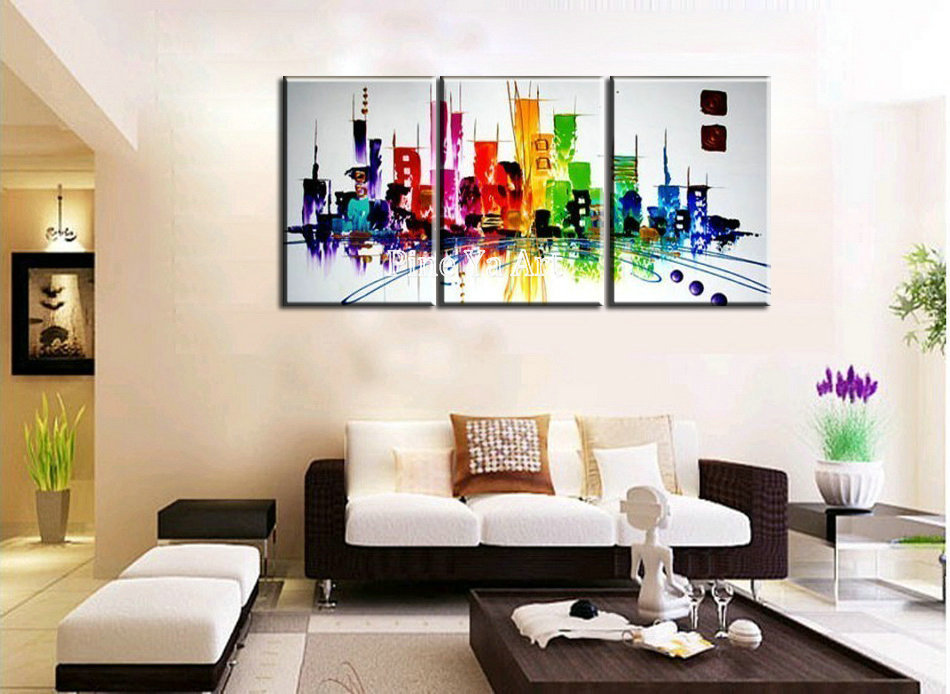 3 piece modern canvas wall art triptych muti abstract city for Piece of living room decor