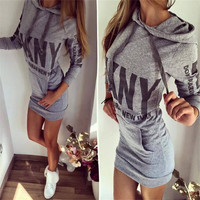 Women Hoodie Party Dress 2017 Winter Dress Women Long Sleeve Casual Pocket Sport Dress Lady Jumper