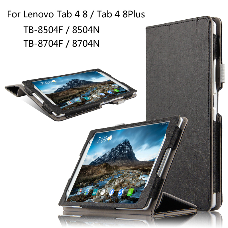 Fashion Flip Folding stand Case Cover For Lenovo TAB 4 8 / 8 Plus TB-8704F/N TB-8504F/N 8.0 inch Tablet cases + Pen ultra thin smart flip pu leather cover for lenovo tab 2 a10 30 70f x30f x30m 10 1 tablet case screen protector stylus pen