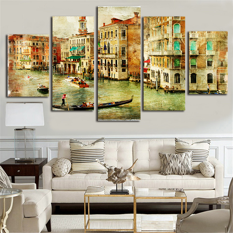 City venice canvas painting 5 piece canvas art poster and prints wall picture for living room Canvas prints for living room