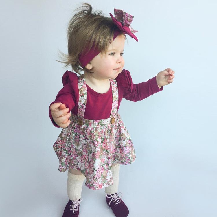 HTB1YR5rm26H8KJjy0Fjq6yXepXal - 1-4y Summer Children Clothing Floral Girl Skirt Cotton Cute Toddler Suspender Skirts for Baby Girls Clothing