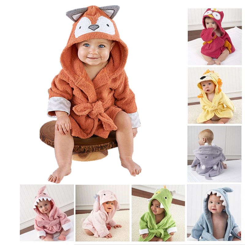 Baby Bathrobe Fox Children's Bathrobes Infant Cartoon Animal Poncho Hooded Towel Kids Bath Robe for Girl Boy Child Sleepwear