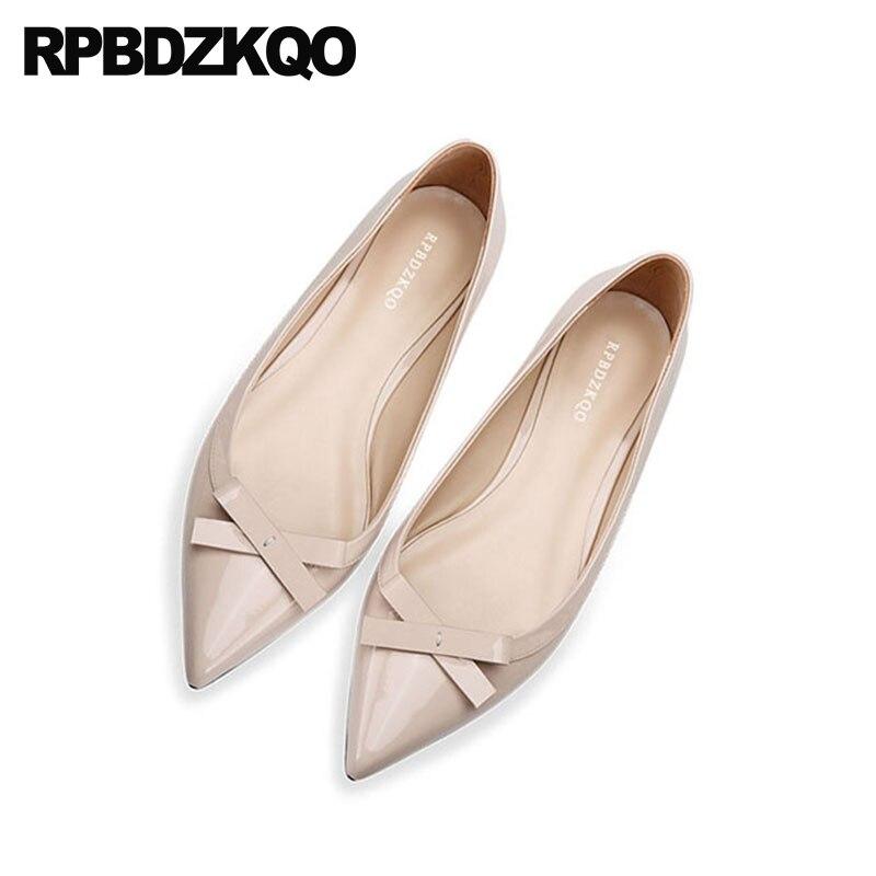 Peu Bout Mignon Work Personnalisé Designer Pointu Arc Bowtie Chine Appartements Chaussures En Cuir Véritable Avec Patent Slip Nude Femmes Sur Nude noir Dames FK1lTJc3