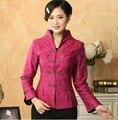 Новая мода Ярко-Розовый Китайских женщин Шелковый Атлас Пальто Куртки цветы Размер Sml XL XXL XXXL Бесплатная Доставка Mny01-C