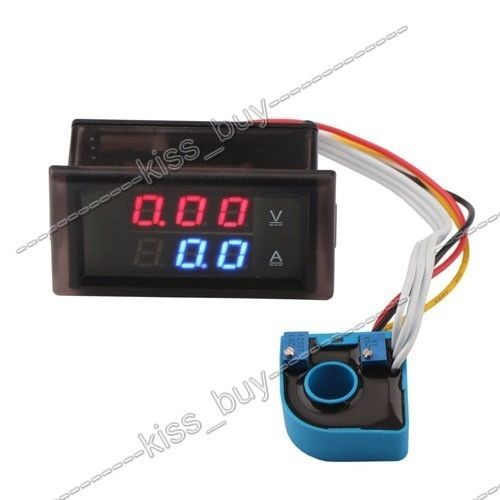 DC 100V 50A Volt Amp Meter Dual Display Voltage Current 12V 24V Voltmeter Ammeter Charge Discharge Solar Panel Battery Monitor