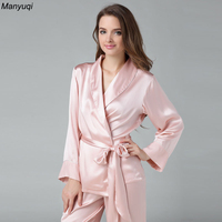 100% mulberry silk pajamas set for women solid luxurious kimono tops+long pants pajamas lounge wear pyjamas suit female