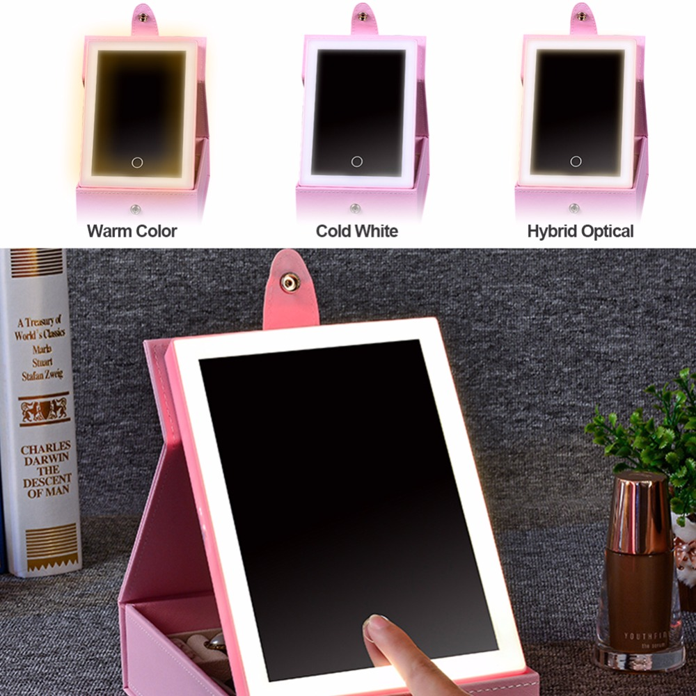 2 In 1 LED Lighted Makeup Mirror Jewelry Box Organizer Storage Case With USB Charging Dimmable Earrings Necklaces For Travel