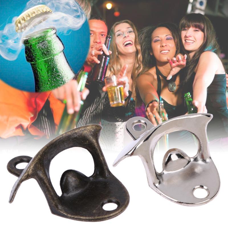 Corkscrew Retro Wall Mounted Bottle Opener Beer Opener For Wine Soda Glass Cap Opener Kitchen Bar Restaurant Gift