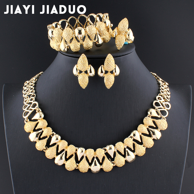Jiayijiaduo 2017 דובאי תכשיטי סט שרשרת סט עגיל צמיד חתונה קישוט עבור נשים אפריקאי חרוזים תכשיטי סט