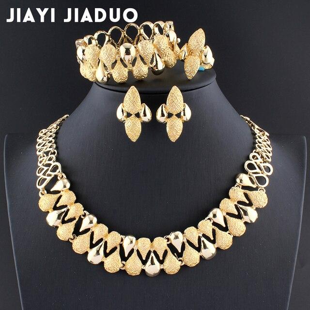 Jiayijiaduo conjunto de joyas de dubai 2017, conjunto de collar, pulsera, decoración de boda para mujer, conjunto de joyas de cuentas africanas
