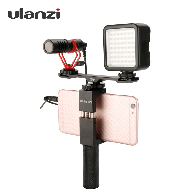 Ulanzi PT-2 Tripod Dual Mount Cold Shoe Plate Extension Bracket Adapter for Microphone/LED Video Light ,Phone Vlogging Rig Setup universal cell phone holder mount bracket adapter clip for camera tripod telescope adapter model c