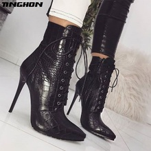 TINGHON  Snakeskin grain Ankle Boots For Women High heels Fashion Pointed toe Ladies Sexy shoes New Lace-Up Boots Size 35-42 цена в Москве и Питере