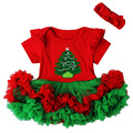 Beautiful Baby Girl Christmas Dresses Headband Outfits Xmas Tree Applique Ruffled Lace Tutu Clothes Set Holiday Gift NY04QZ