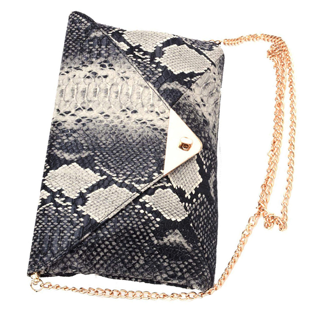 Women's Snake skin Envelope Clutch Bag 2