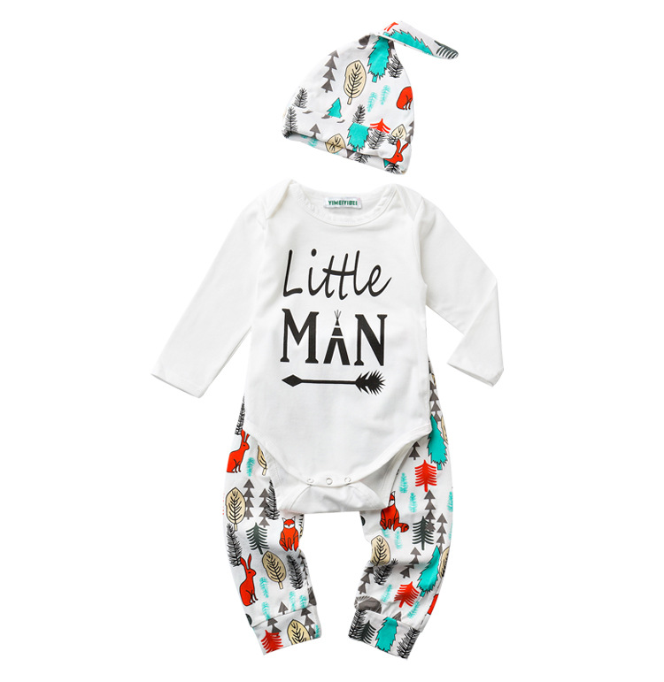New baby clothing set Infants Baby Girls Cotton Long Sleeve Tops Romper +Long Pants Hat 2pcs newborn baby boys clothes set cotton baby rompers set newborn clothes baby clothing boys girls cartoon jumpsuits long sleeve overalls coveralls autumn winter