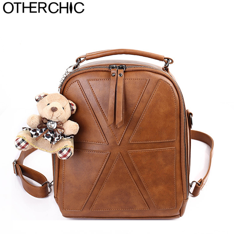 OTHERCHIC Preppy Style Dark Brown Vintage Backpacks Women Gray Hanging Bear Teenage Girls School Bag Sac
